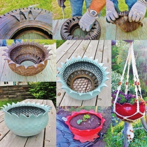 recycled-tie-flower-planter